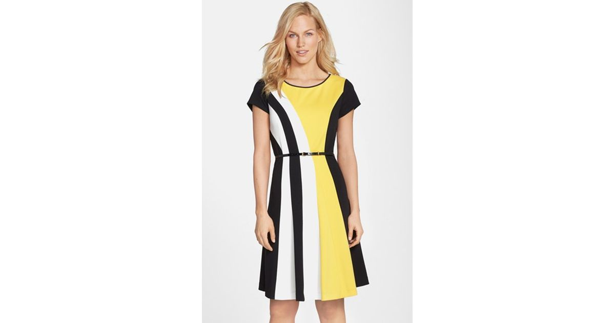 Yellow and white colorblock dress