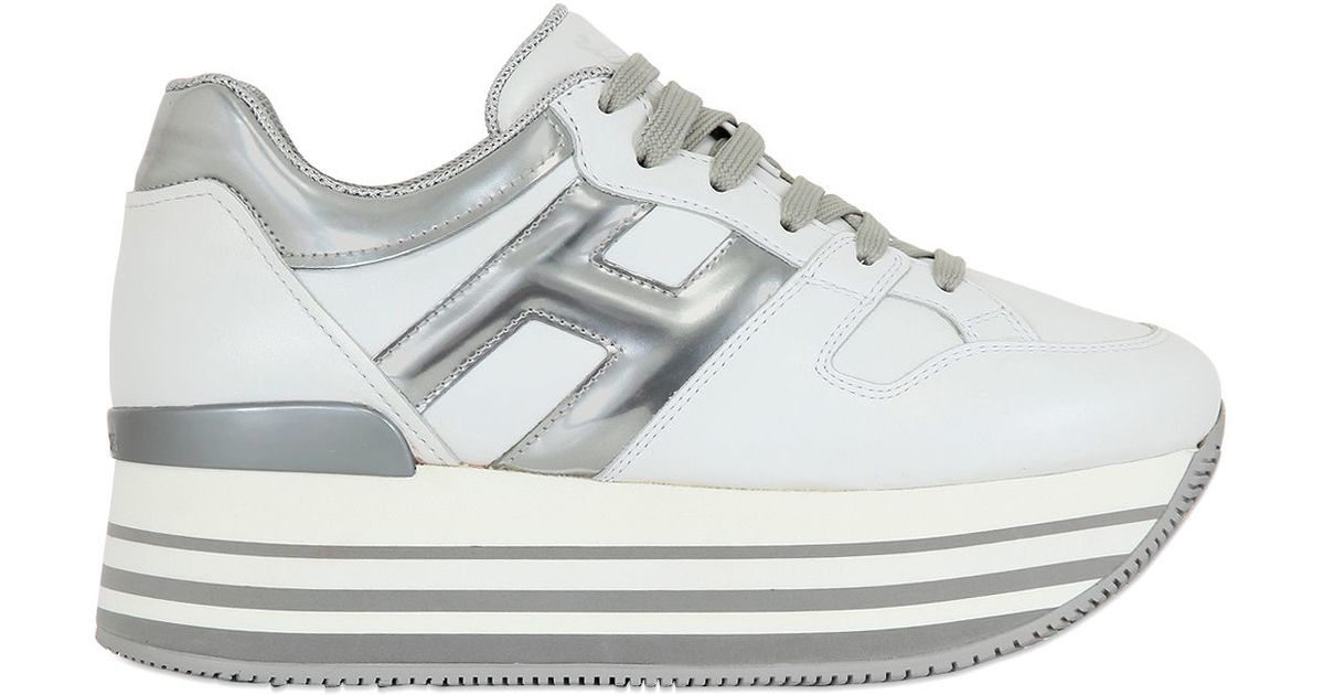 Lyst Hogan 70mm Leather Platform Sneakers In White