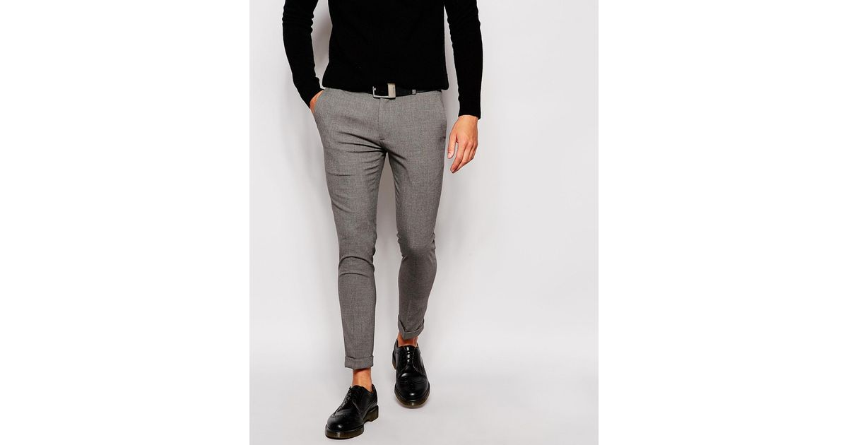 9cee3d694d7c ASOS Super Skinny Smart Cropped Trousers in Gray for Men - Lyst