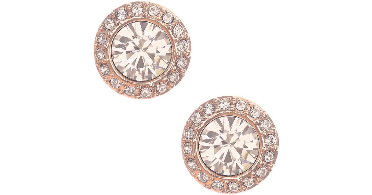 Lyst Givenchy Rose Goldtone And Swarovski Crystal Stud Earrings In Pink