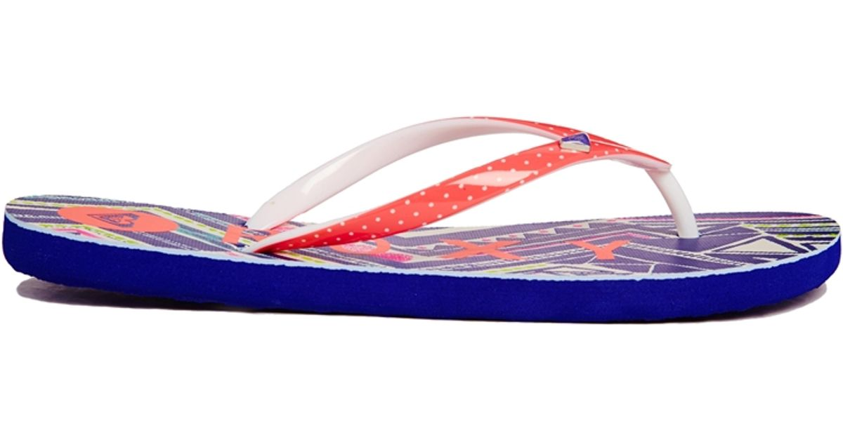 ecee97c7293d Lyst - Roxy Blue Aztec Print Mimosas Flip Flops in Orange