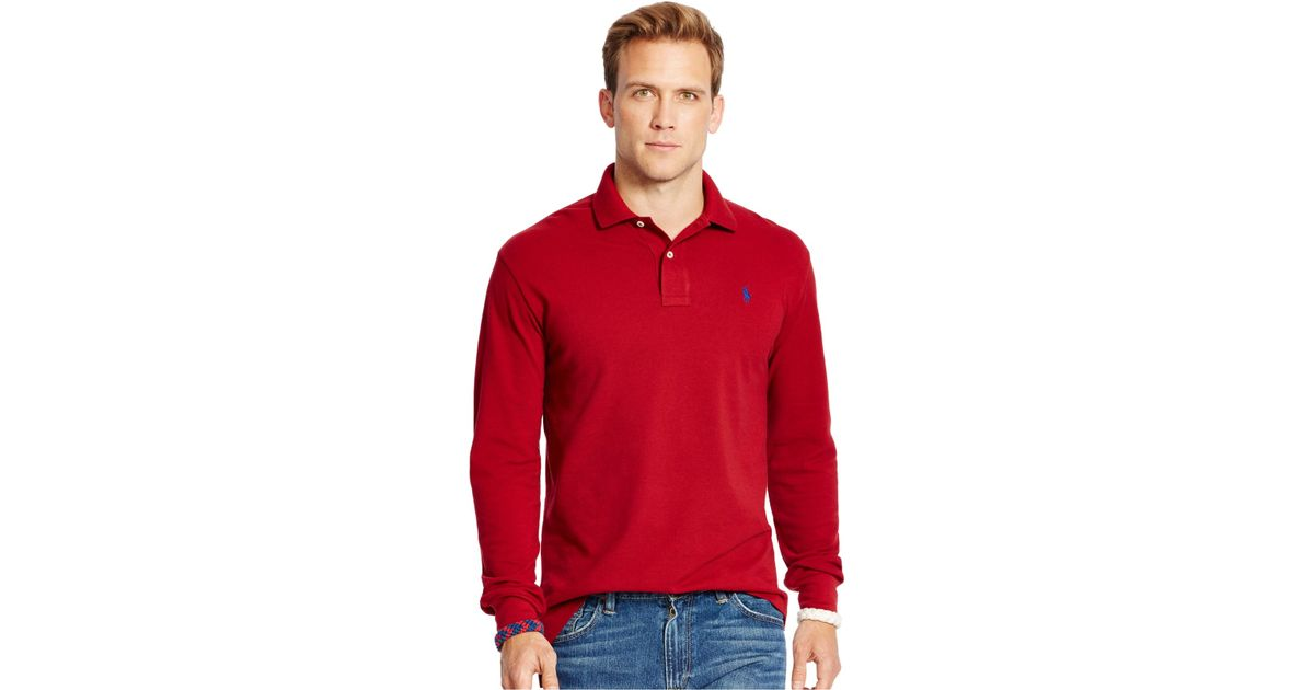 Polo ralph lauren Long-sleeved Classic-fit Mesh Polo Shirt in Red for Men | Lyst