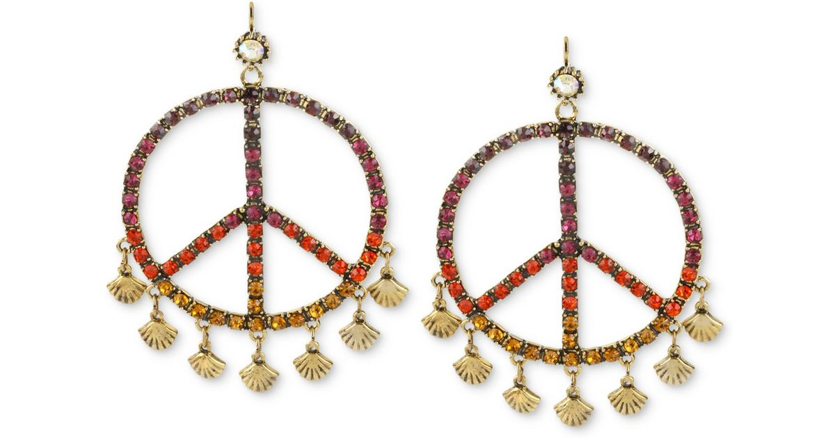 Lyst Betsey Johnson Goldtone Multicolor Crystal Peace Sign Gypsy Hoop Earrings
