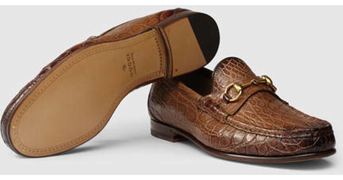 c171aae313e Lyst - Gucci 1953 Horsebit Crocodile Loafer in Brown for Men