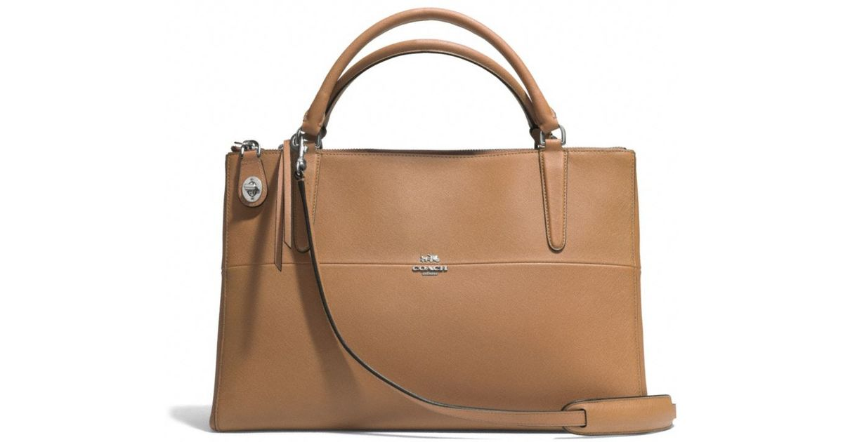 lyst coach the borough bag in saffiano leather in brown rh lyst com