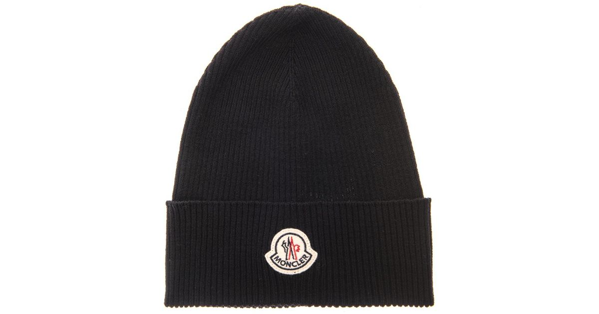 c1dfb4919fd Lyst - Moncler Ribbed-Knit Wool Beanie in Black for Men