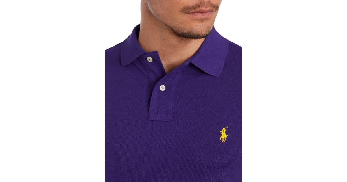 Polo ralph lauren Slim Fit Short Sleeve Mesh Polo Shirt in Purple for Men | Lyst