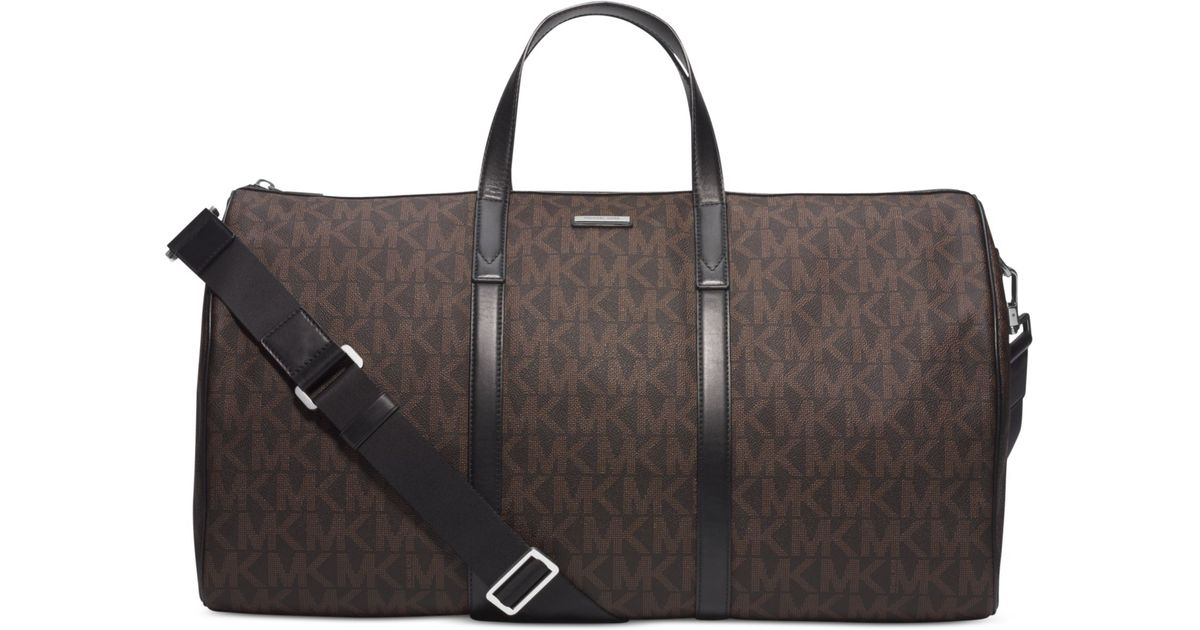 Lyst Michael Kors Signature Logo Jet Set Travel Duffle Bag In Brown For Men
