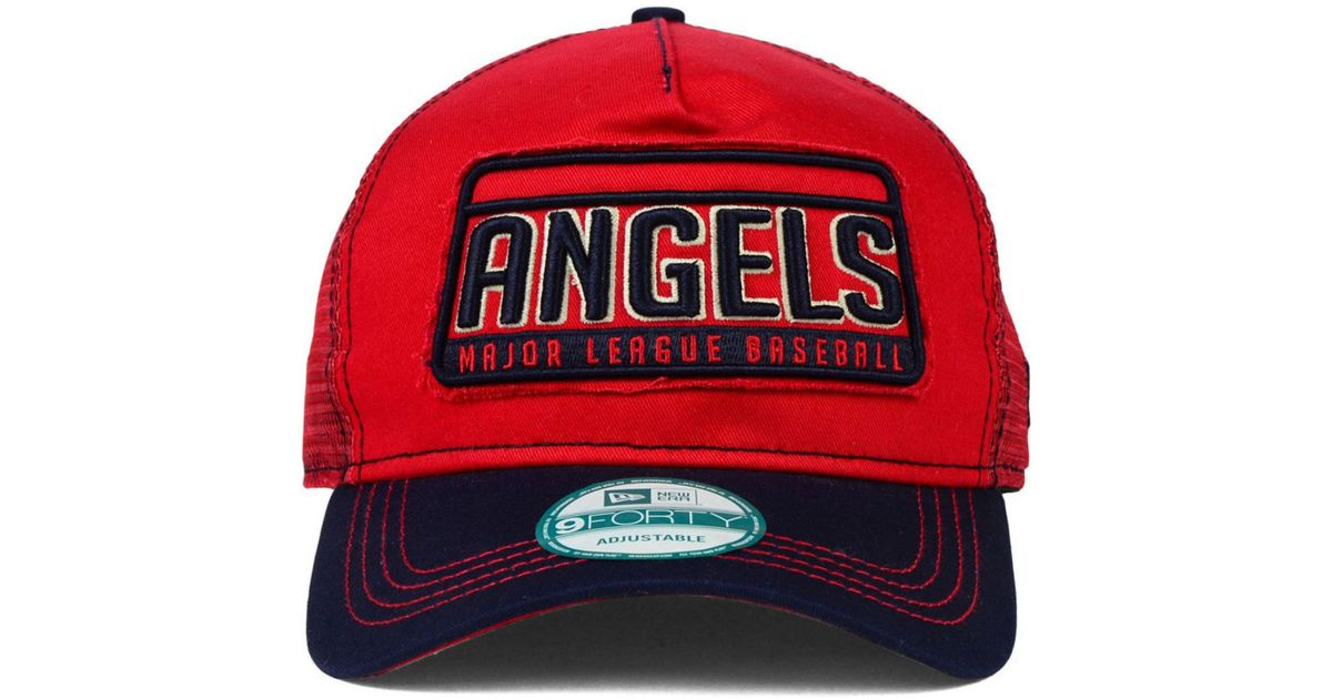pretty nice b7917 7bfd0 KTZ Los Angeles Angels Of Anaheim Trip Trucker 9forty Cap in Red for Men -  Lyst