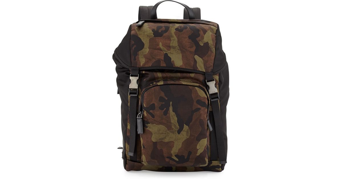 af6db9c23ac2 Lyst - Prada Camo-print Nylon Backpack for Men