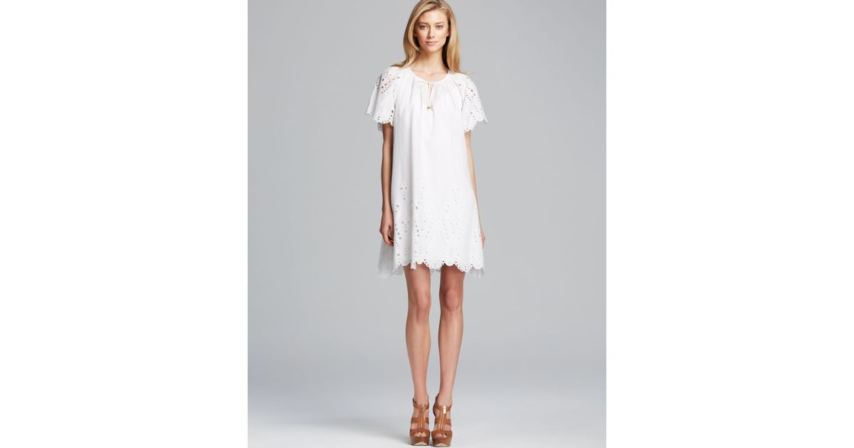09cfbb1eeddc3b Lyst - MICHAEL Michael Kors Short Sleeve Raglan Eyelet Dress in White