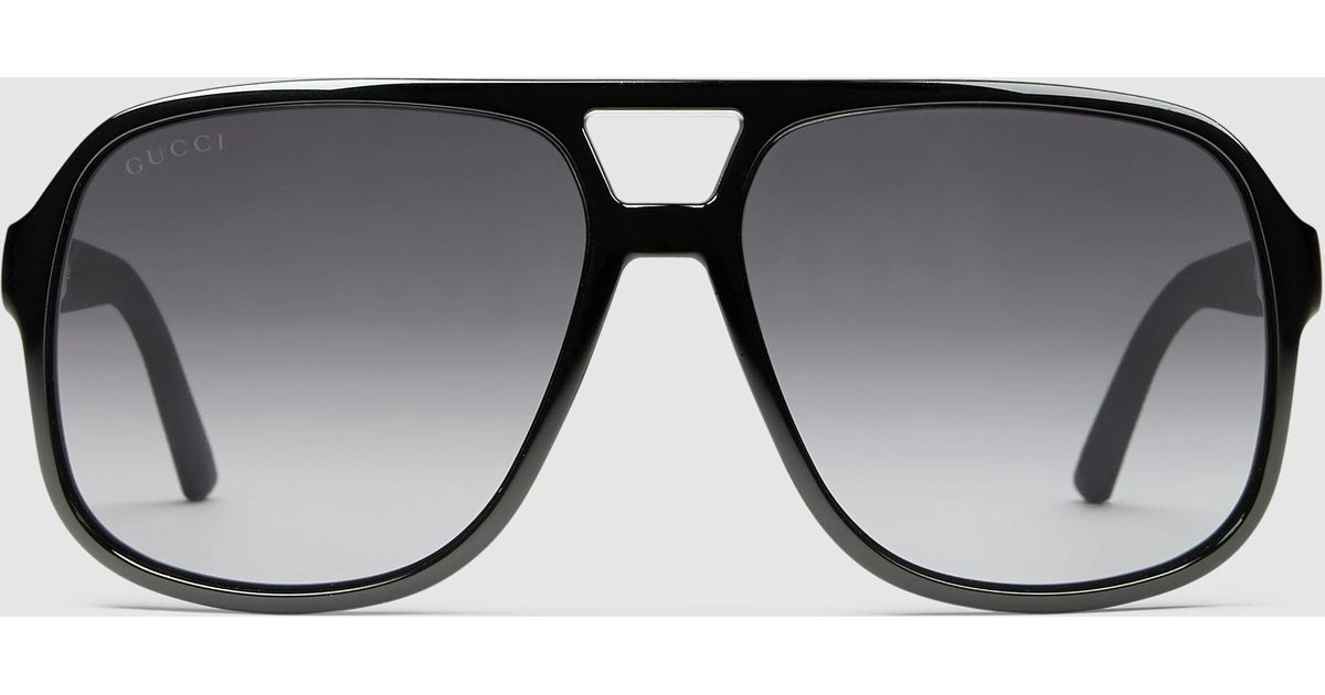 Gucci Rectangular Frame Sunglasses With Web in Black for ...
