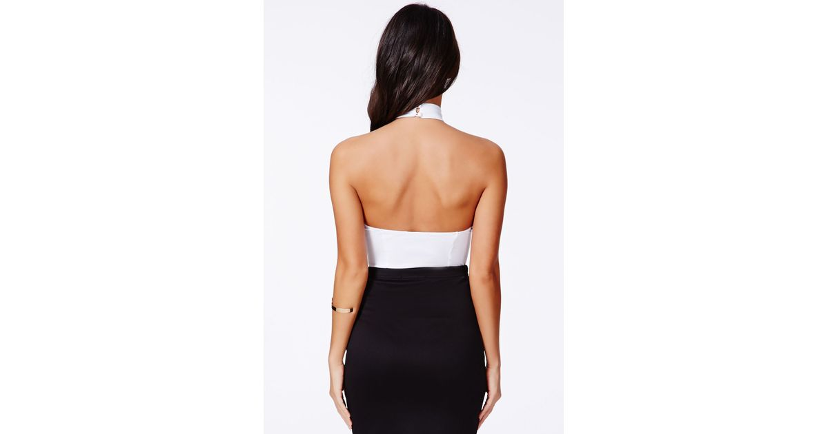Lyst - Missguided Museta White Halterneck Bodysuit With Open Back in White bf3346348