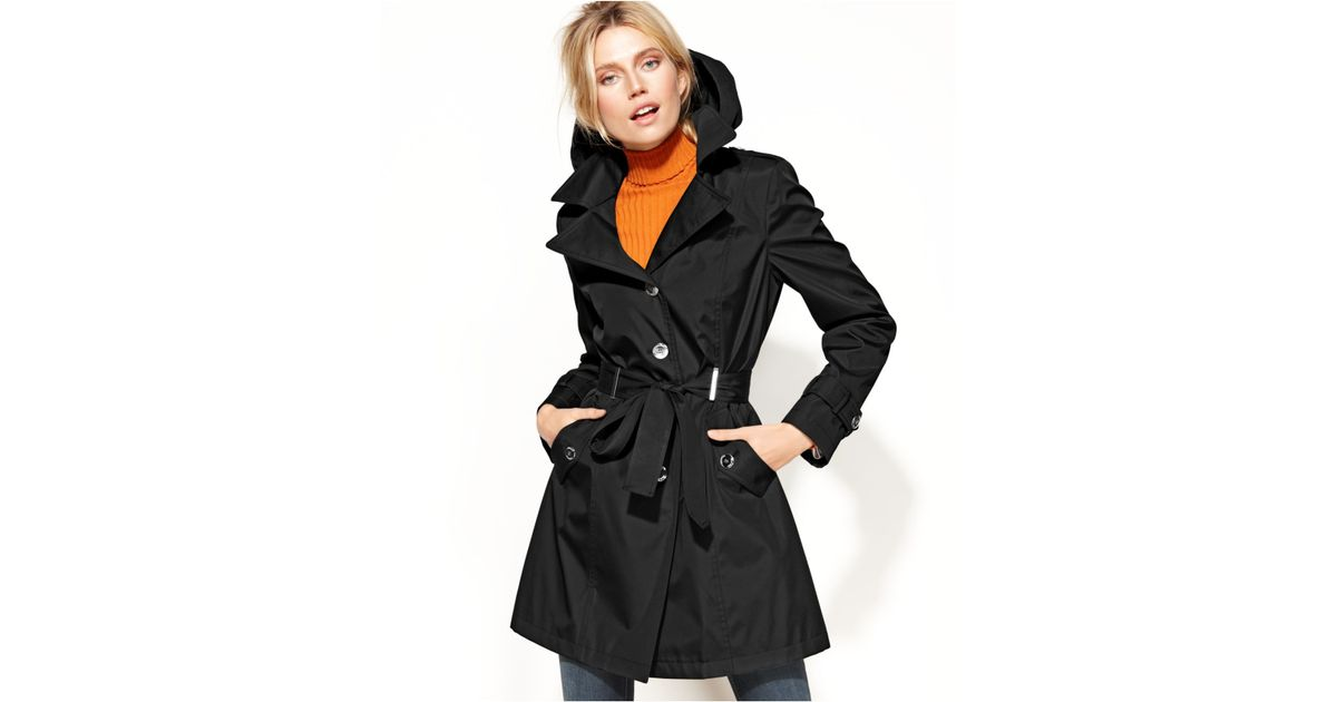 Calvin Klein Petite Belted Trench Coat In Black Lyst