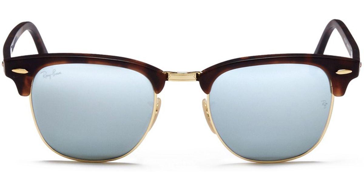 tortoise shell clubmaster  Ray-ban \u0027clubmaster\u0027 Matte Tortoiseshell Mirror Sunglasses in Gray ...
