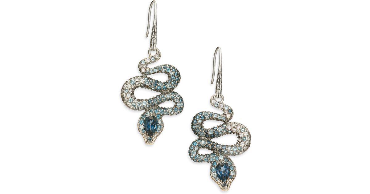 1509c1e4b John Hardy Legends Cobra Semi-precious Multi-stone, Diamond & Sterling  Silver Drop Earrings in Blue - Lyst