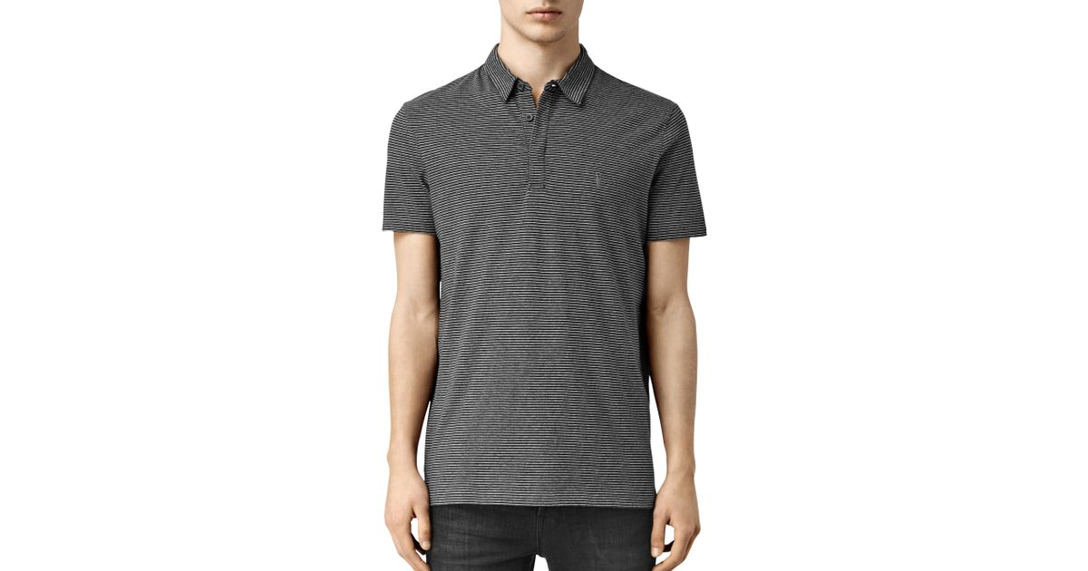 Allsaints Anic Stripe Polo Shirt In Gray For Men Charcoal