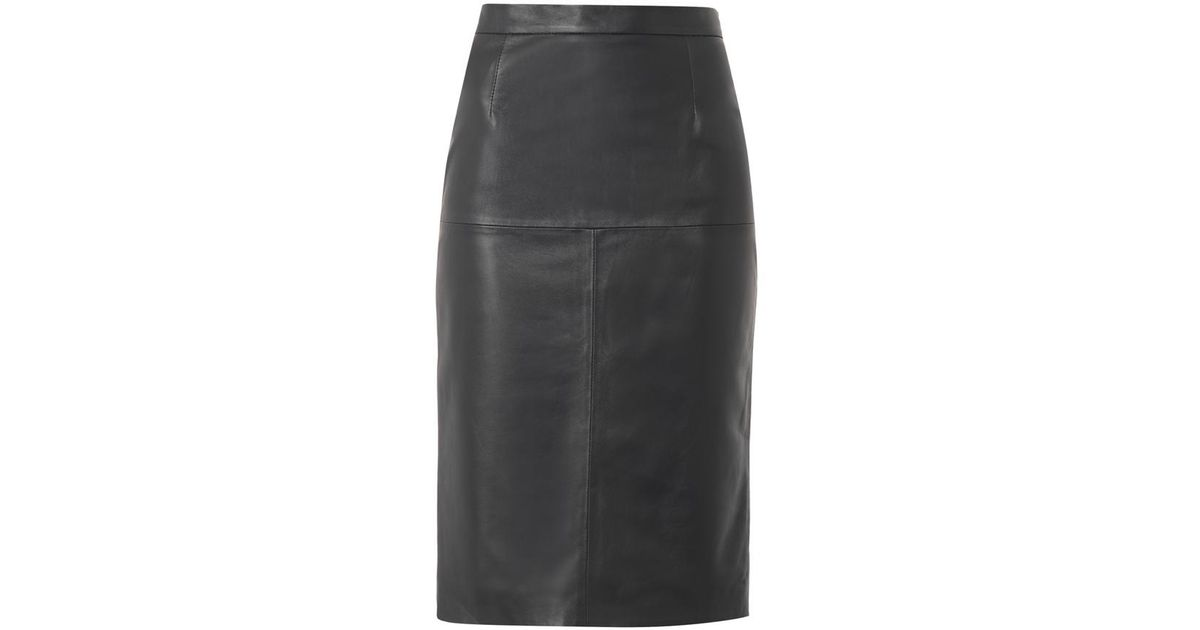 freda navy leather pencil skirt in blue lyst