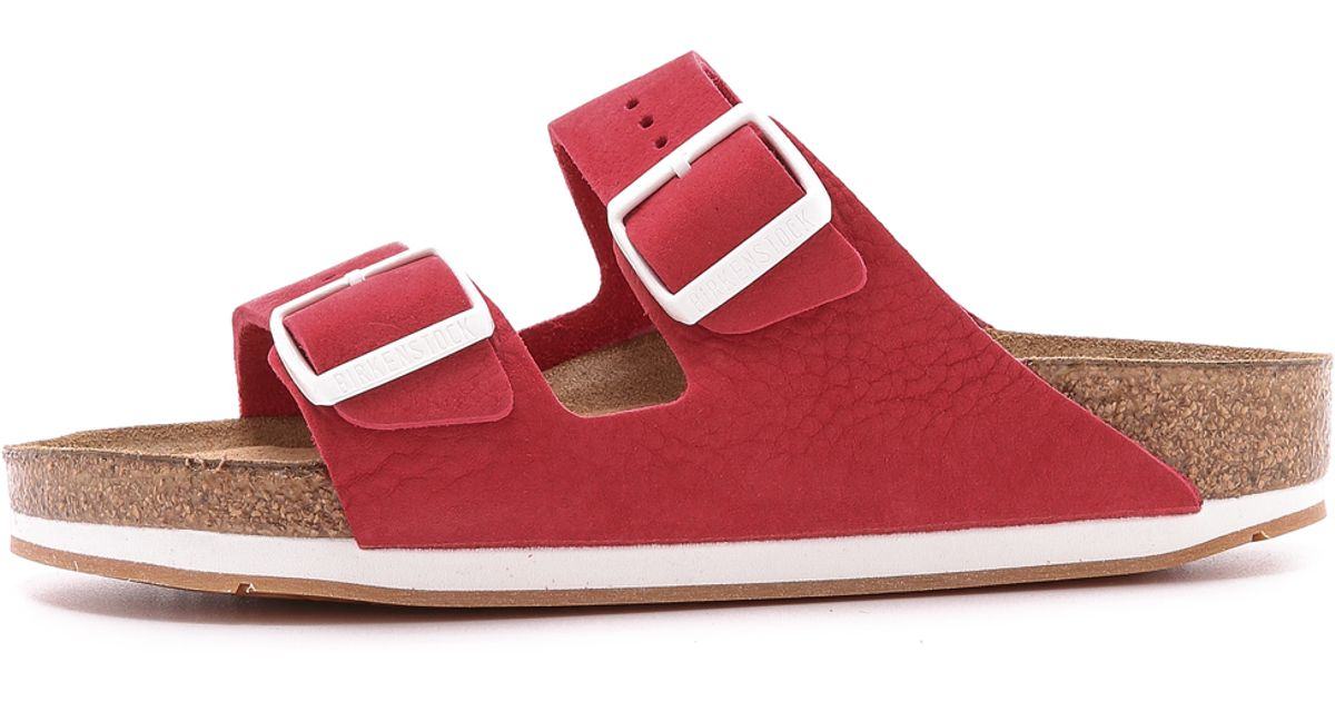 99e000aae48 Lyst - Birkenstock Arizona 2 Band Suede Sandals - Red in Red
