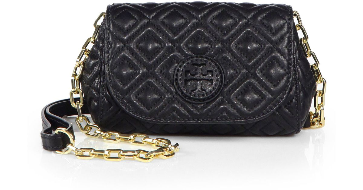 7b7acc86359a Lyst - Tory Burch Marion Quilted Small Crossbody Bag in Black