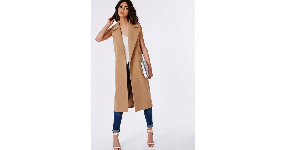 850080177dce57 Lyst - Missguided Sleeveless Tailored Coat Camel in Natural