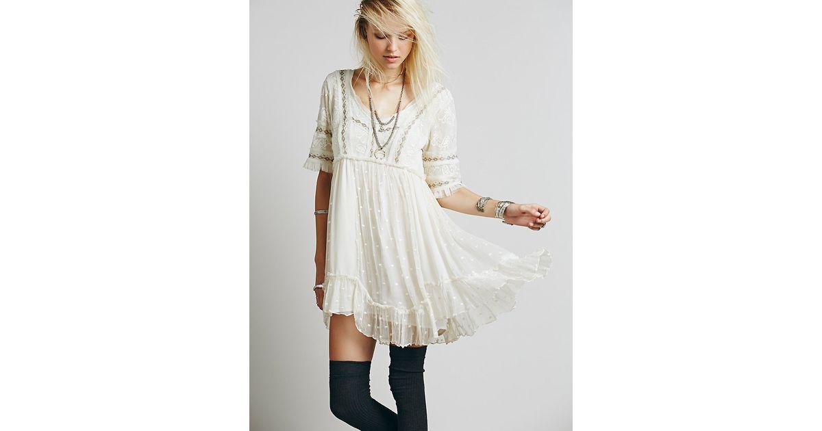 a4d16a9c3ced1 Lyst - Free People Womens Little Dot Mini Dress in White
