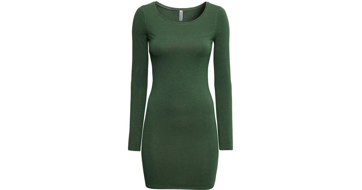 af2f724eca35 H&M Jersey Dress in Green - Lyst