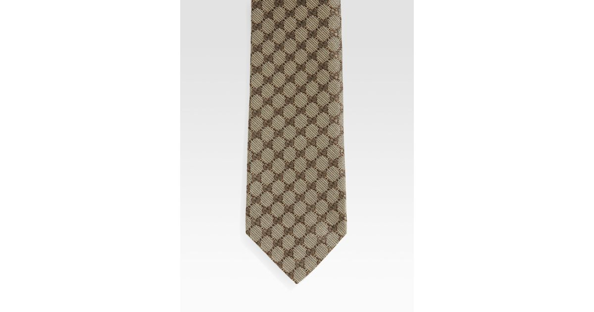 859b208504ab3 Lyst - Gucci Gg Pattern Silk Tie in Natural for Men