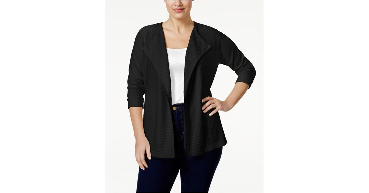 6484f20485 Lyst - Calvin Klein Plus Size Open-front Textured-knit Flyaway Jacket in  Black