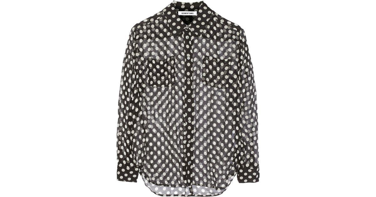 e3d25f12c94a4 Lyst - Elizabeth and James  emmanuel  Polka Dot Silk Chiffon Shirt in Black