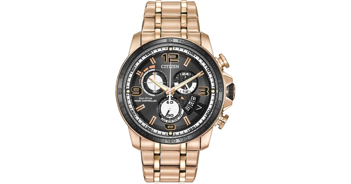 543ac53af Citizen Men's Eco-drive Chrono-time A-t Rose Gold-tone Stainless Steel  Bracelet Watch 44mm By0108-50e in Metallic for Men - Lyst