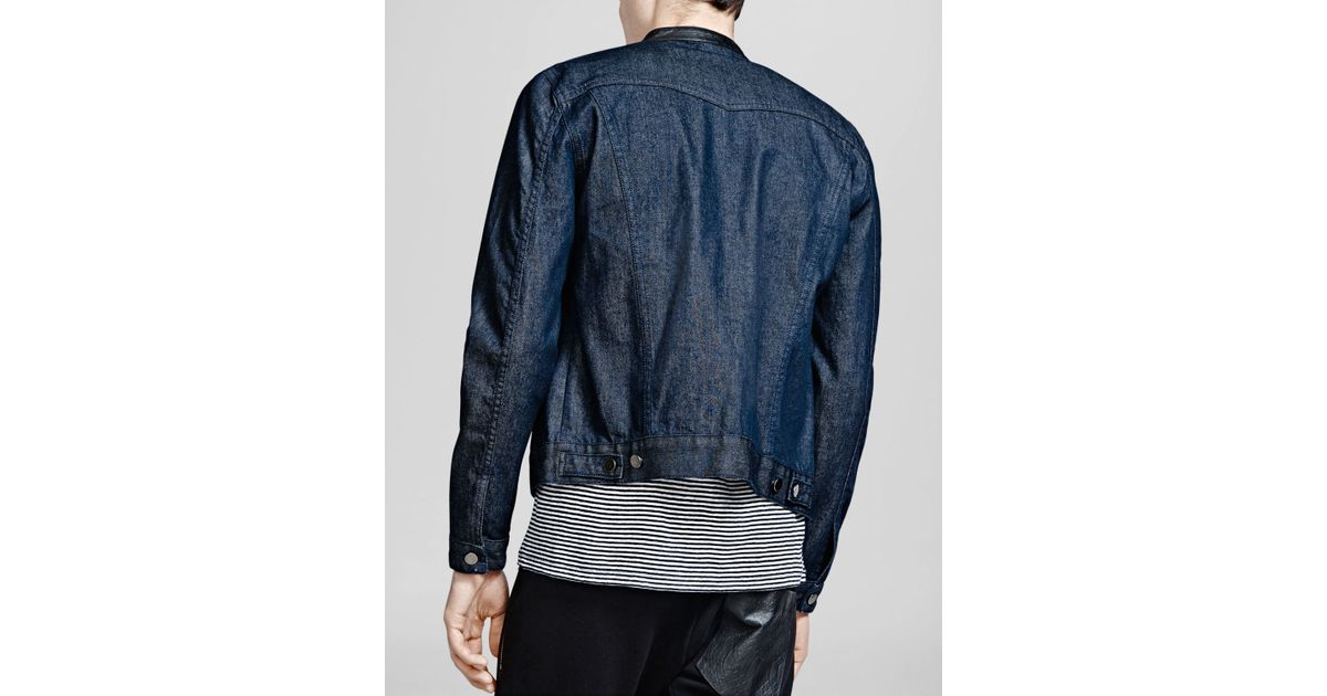 4faec9d872 Lyst - The Kooples Stand Collar Raw Denim Jacket in Blue for Men
