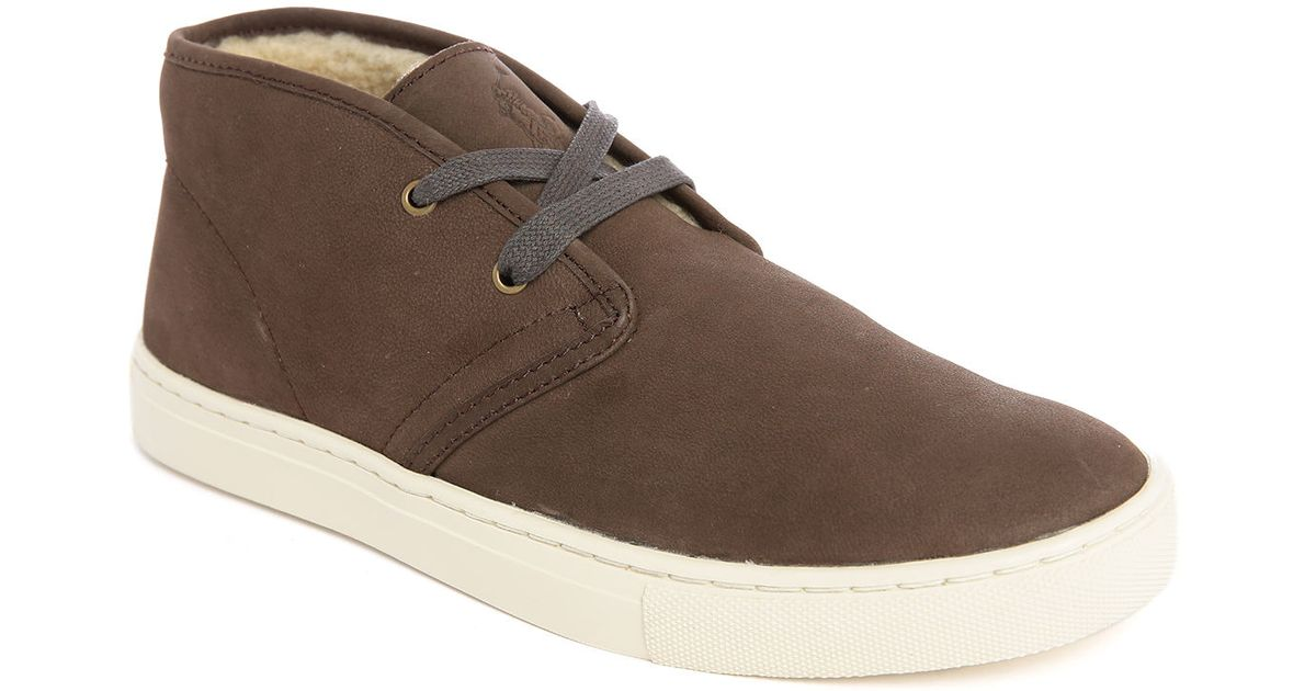 polo ralph chukka taupe leather fur lined shoe in