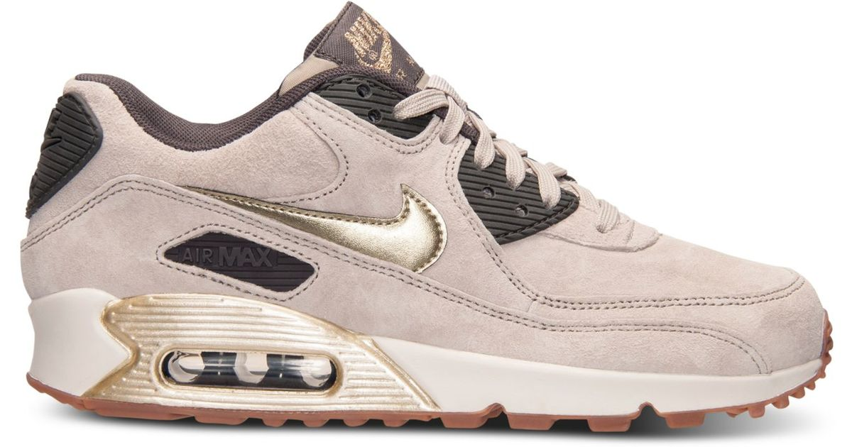 hot sale online 472ae f569a Nike Women s Air Max 90 Premium Suede Running Sneakers From Finish Line in  Metallic - Lyst