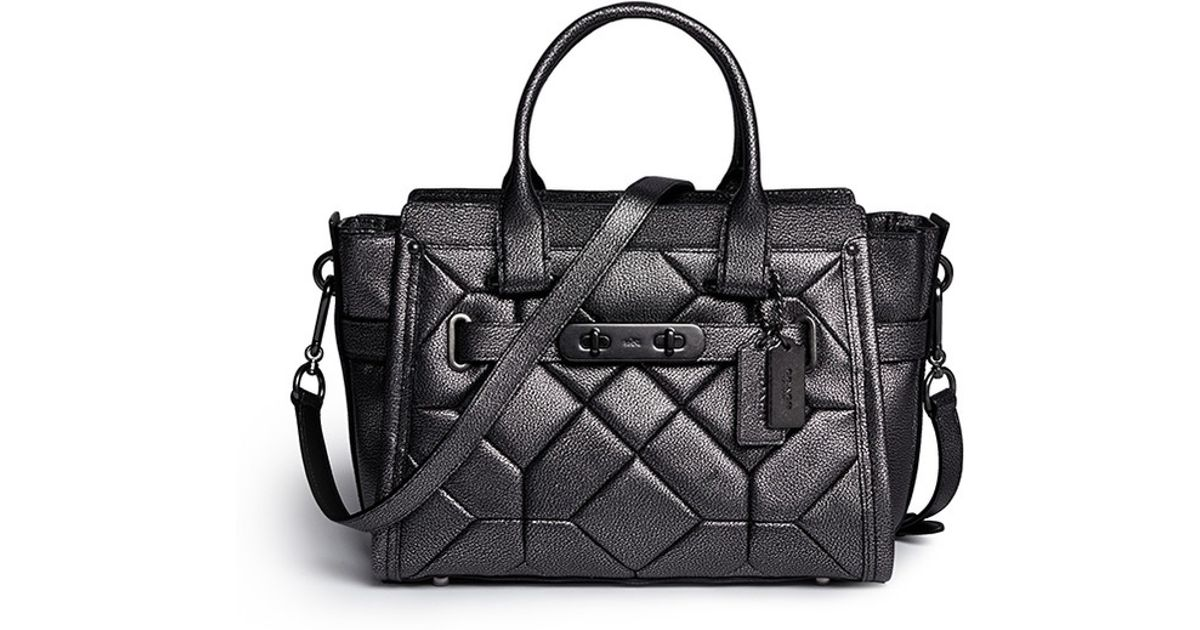 ... Lyst - Coach X Blitz swagger Small Patchwork Metallic Leather Tote in  Black lowest price 17a34 ... 1254d6def6f43