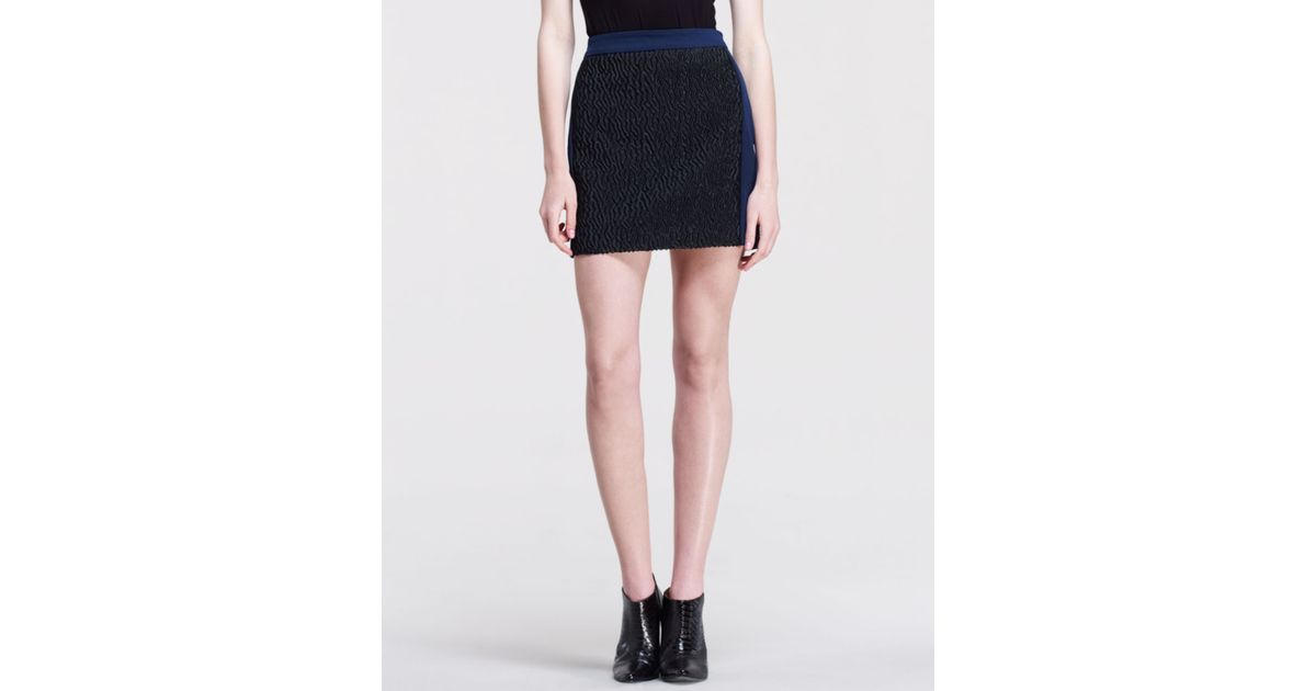 Opening ceremony crave mix fabric skirt in blue navy