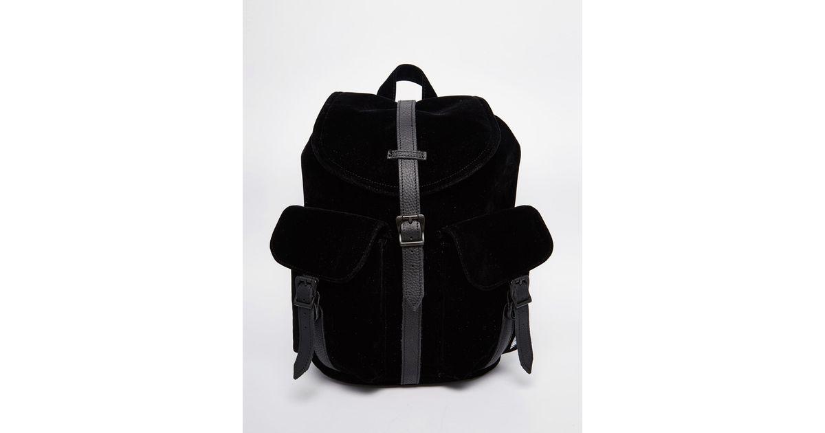 Lyst - Herschel Supply Co. Dawson Micro Velvet Backpack With Leather Trim  in Black 05bd1f5cdaddc