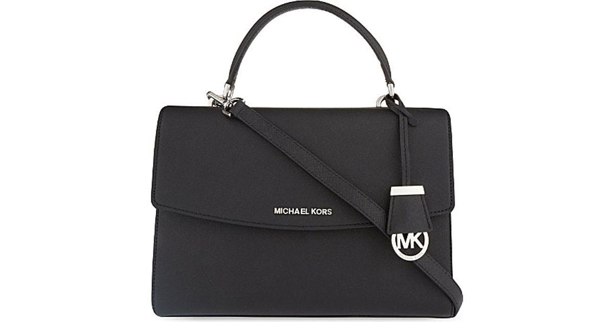 413e394775e9 Lyst - Michael Michael Kors Ava Medium Saffiano Leather Satchel in Black