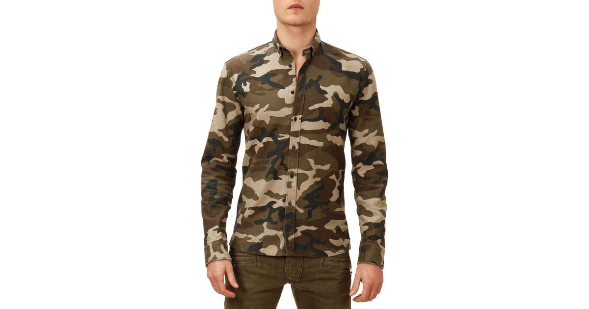 288ca184 Balmain Camo-print Button-down Shirt in Green for Men - Lyst