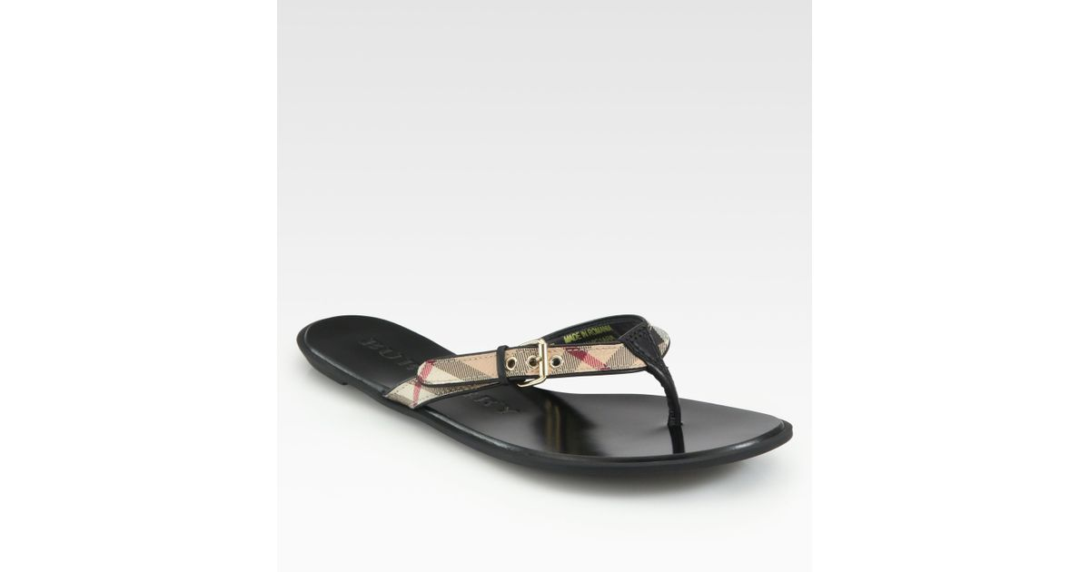 9e538eacffd2 Lyst - Burberry Parsons Leather Flip Flops in Black