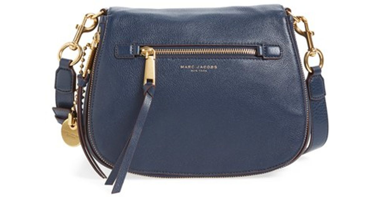 7682dba7b Marc Jacobs Recruit Nomad Pebbled Leather Crossbody Bag in Blue - Lyst
