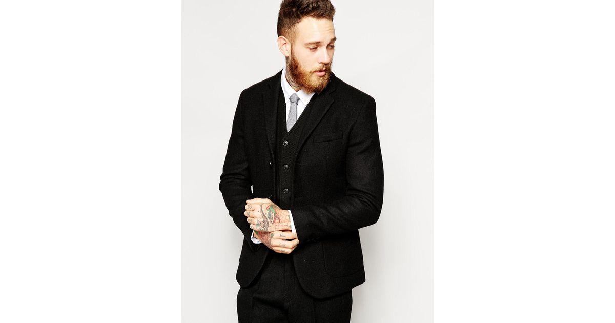 b786b6e49f8 Lyst - ASOS Slim Fit Suit Jacket In Harris Tweed Fabric in Black for Men