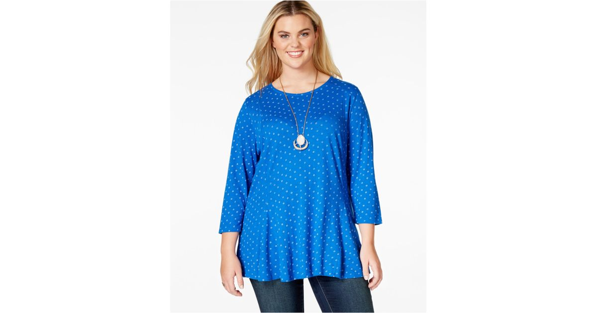dc60b27569b758 Lyst - Lucky Brand Lucky Brand Plus Size Floral-print Swing Top in Blue