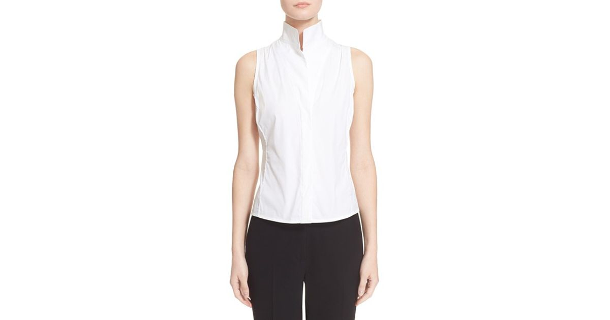 d831a2fa264610 Lyst - Armani Sleeveless Cotton Poplin Blouse in White