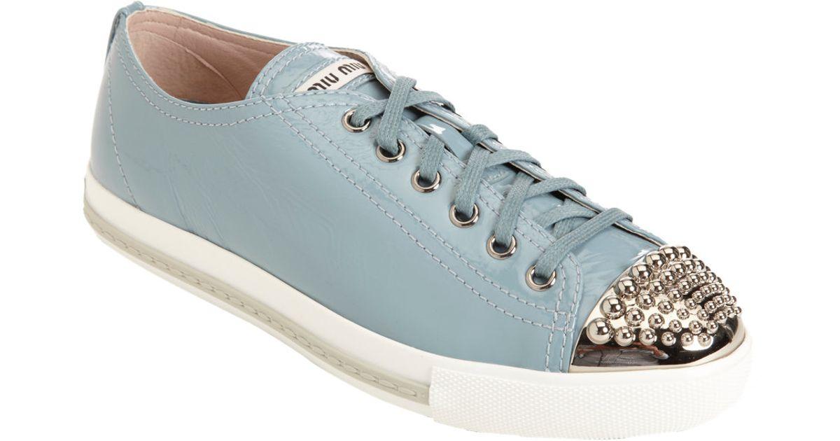 0ad794aa10d4 Lyst - Miu Miu Studded Metallic Cap Toe Sneaker in Metallic