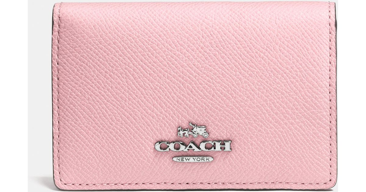 Lyst coach business card case in crossgrain leather in pink colourmoves
