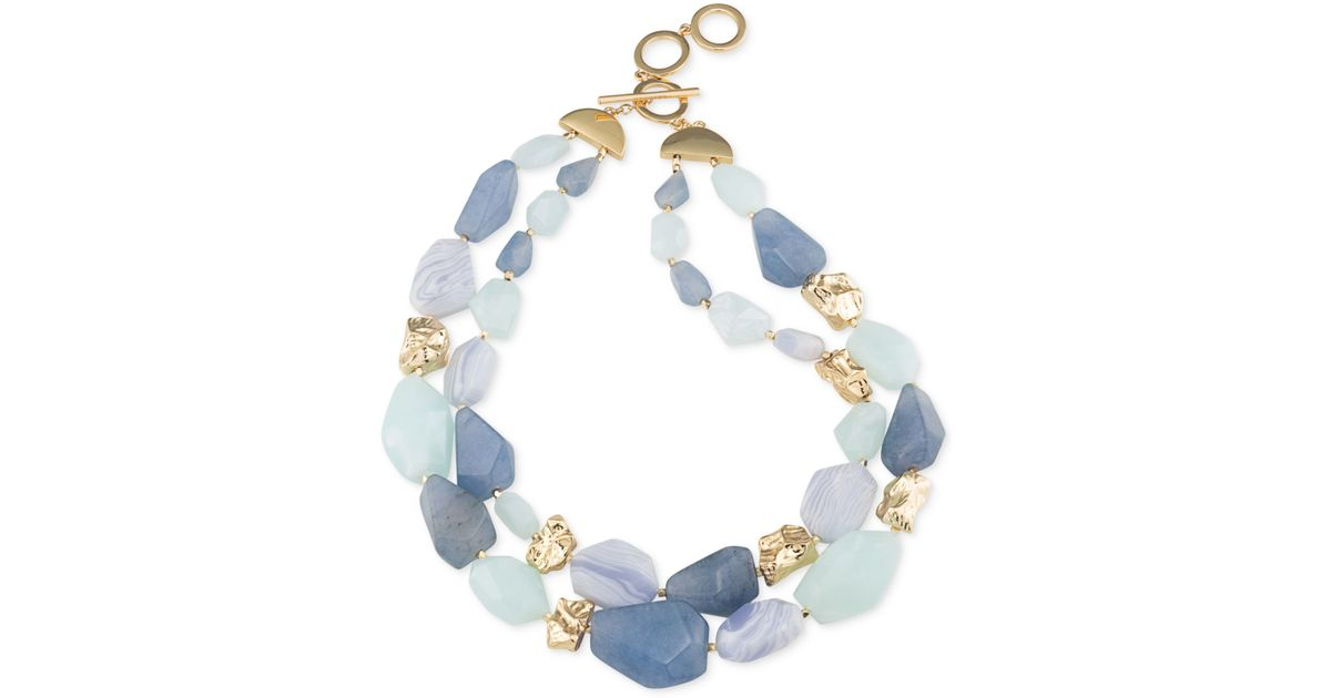 Carolee Gold Tone Blue Lace Agate And Multi Color Stone
