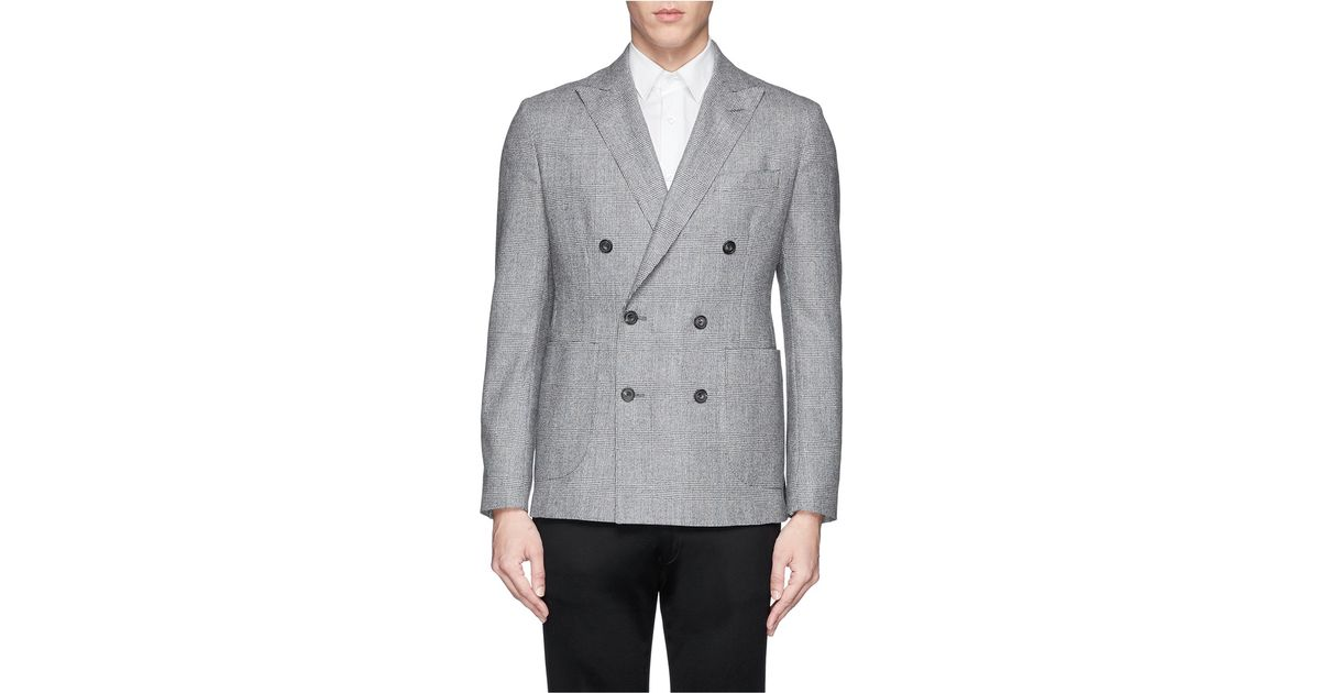 31a602db928a6 Hardy Amies Pure New Wool Glen Plaid Double Breasted Blazer in Gray for Men  - Lyst
