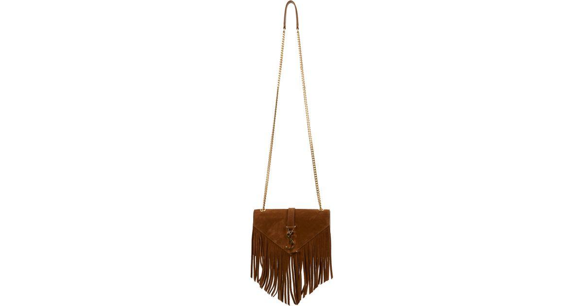 ysl duffle 3 - Saint laurent Monogram Small Fringed Suede Crossbody Bag in Brown ...