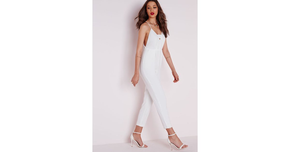 f4d468b4f2ba Missguided Plunge Insert Strappy Jumpsuit White in White - Lyst